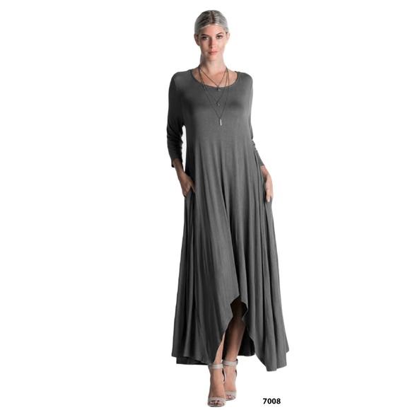 9867f34bc37b9 Gray Drape Asymmetrical Plus Size Dress Pockets